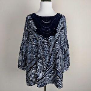 Adrianna Papell Navy Blue Crochet Tribal Blouse